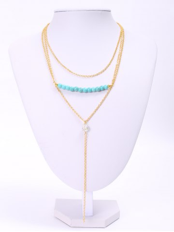 Affordable Delicate Turquoise Layered Tassel Necklace For Women GOLDEN