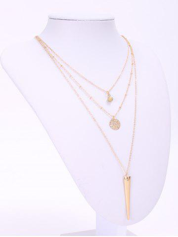Chic Trendy Matte Triangle Pendant Necklace For Women - GOLDEN  Mobile