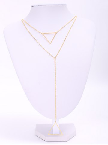 Fancy Charming Multilayered Solid Color Triangle Sweater Chain For Women - GOLDEN  Mobile