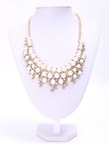 Trendy Elegant Three-Layered Faux Pearl Rhinestone Necklace For Women