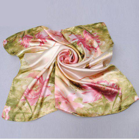 Discount Chic Lotus and Bird Pattern Square Scarf For Women