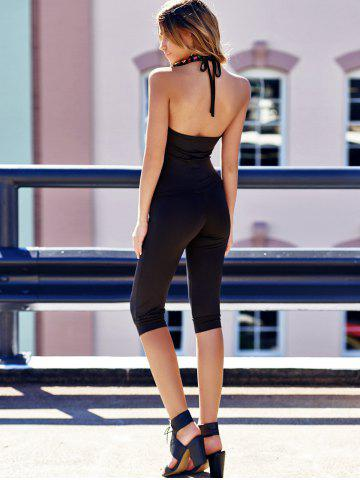 Fashion Charming Halterneck Black Jumpsuit For Women - ONE SIZE BLACK Mobile