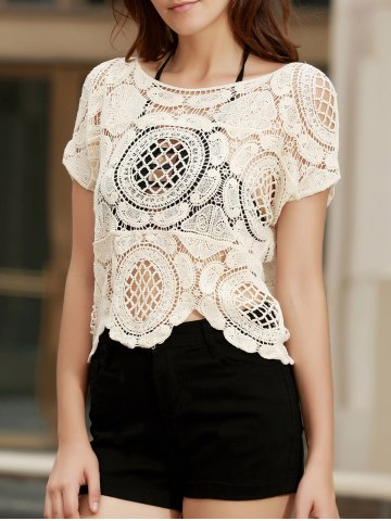 Fashionable Short Sleeve Crochet Hollow Out Knitting Cover-Up For Women - Apricot - One Size(fit Size Xs To M)