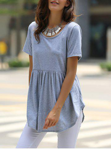 Latest Stylish Scoop Neck Solid Color Short Sleeve Mini Dress For Women