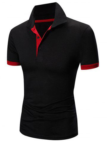 Outfits Laconic Turn-down Collar Color Block Short Sleeves Polo T-Shirt For Men RED WITH BLACK XL