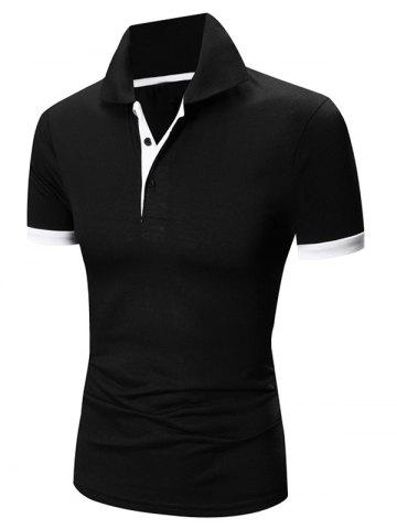 New Laconic Turn-down Collar Color Block Short Sleeves Polo T-Shirt For Men - WHITE AND BLACK 2XL Mobile