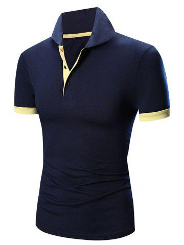 Online Laconic Turn-down Collar Color Block Short Sleeves Polo T-Shirt For Men - CADETBLUE M Mobile