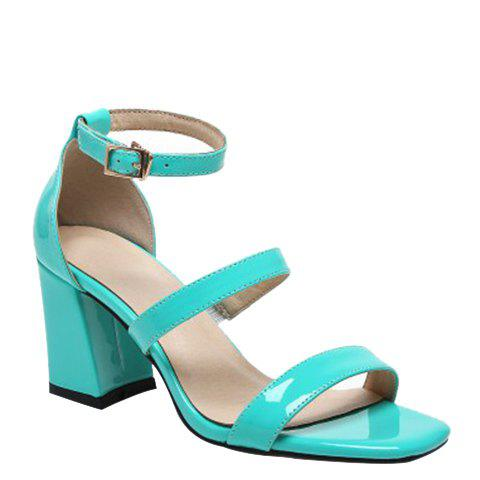 Unique Simple Chunky Heel and Patent Leather Design Sandals For Women