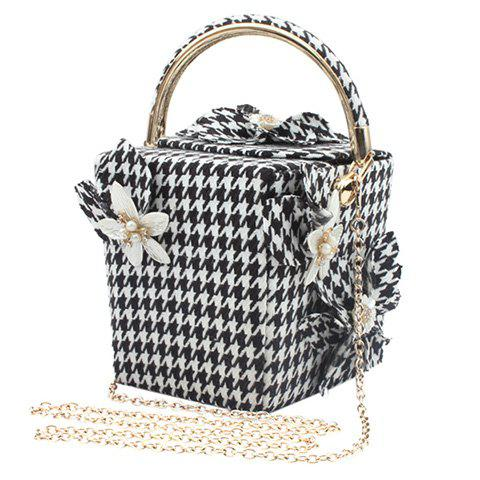 Fashion Chic Flower and Houndstooth Design Evening Bag For Women