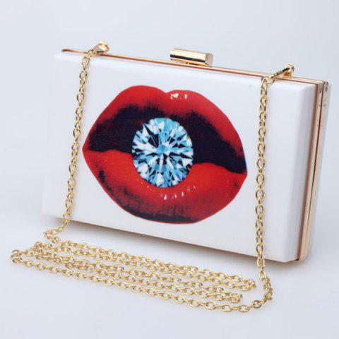 Fashion Stylish Chain and Print Design Evening Bag For Women