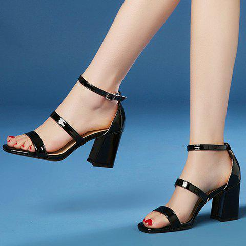 Fancy Simple Chunky Heel and Patent Leather Design Sandals For Women - 38 BLACK Mobile