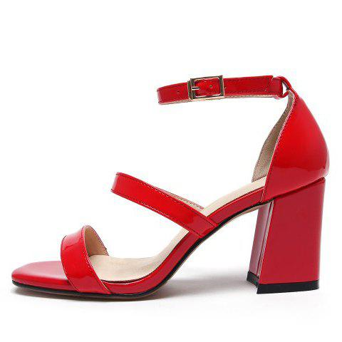 Online Simple Chunky Heel and Patent Leather Design Sandals For Women - 39 RED Mobile