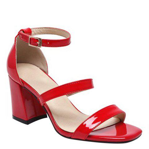 New Simple Chunky Heel and Patent Leather Design Sandals For Women - 39 RED Mobile