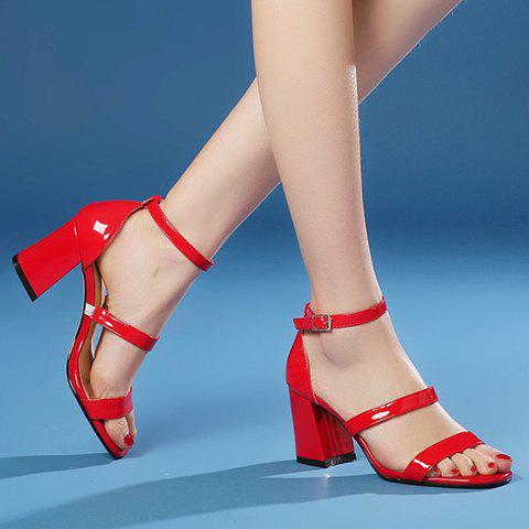 Online Simple Chunky Heel and Patent Leather Design Sandals For Women - 36 RED Mobile