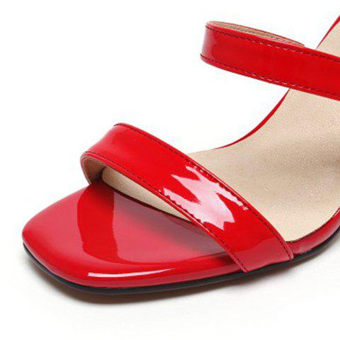 Best Simple Chunky Heel and Patent Leather Design Sandals For Women - 36 RED Mobile