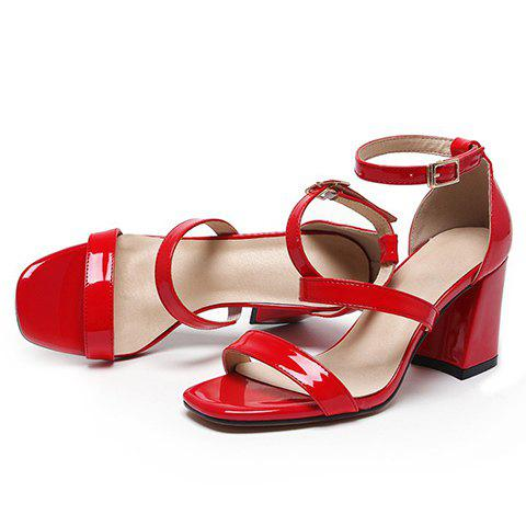 Outfits Simple Chunky Heel and Patent Leather Design Sandals For Women - 36 RED Mobile