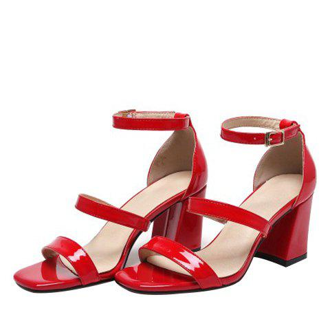 Latest Simple Chunky Heel and Patent Leather Design Sandals For Women - 36 RED Mobile