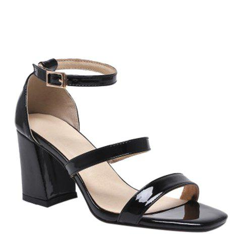Online Simple Chunky Heel and Patent Leather Design Sandals For Women - 39 BLACK Mobile