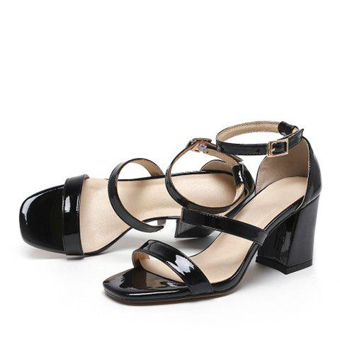 New Simple Chunky Heel and Patent Leather Design Sandals For Women - 39 BLACK Mobile