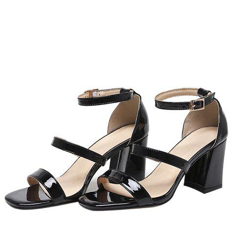 Outfits Simple Chunky Heel and Patent Leather Design Sandals For Women - 39 BLACK Mobile