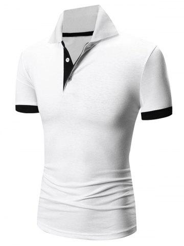 Shops Laconic Turn-down Collar Color Block Short Sleeves Polo T-Shirt For Men