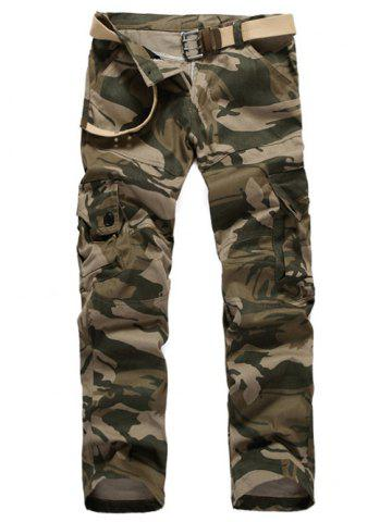 Fancy Straight Leg Camouflage Military Army Cargo Pants EARTHY 3XL