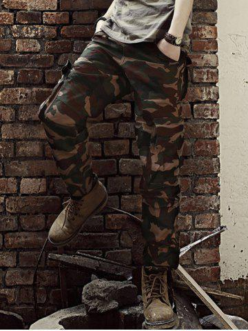 Outfits Straight Leg Camouflage Military Army Cargo Pants COFFEE 2XL