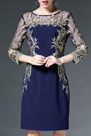Outfit Voile Spliced See-Through Embroidery Dress