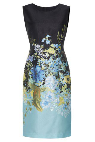 Shop Floral Satin Sleeveless Sheath Dress