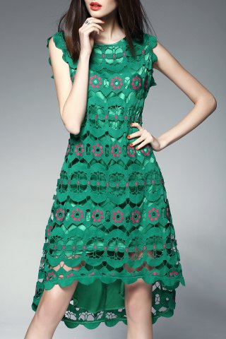 Online Round Collar Hollow Out High Low Dress