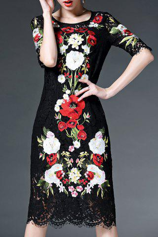 Affordable Half Sleeve Floral Embroidery Lace Dress