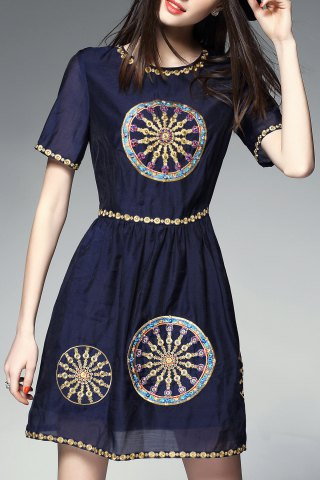 Cheap Round Collar Embroidered Beaded Mini Dress