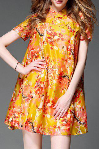 Latest Stand Collar Button Design Floral Print Dress