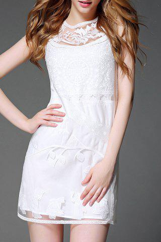 New Round Neck Mesh Lace Cut Out Dress