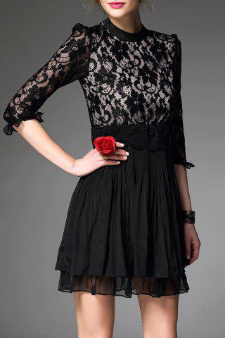 New Stand Collar Lace Spliced Pleated Dress