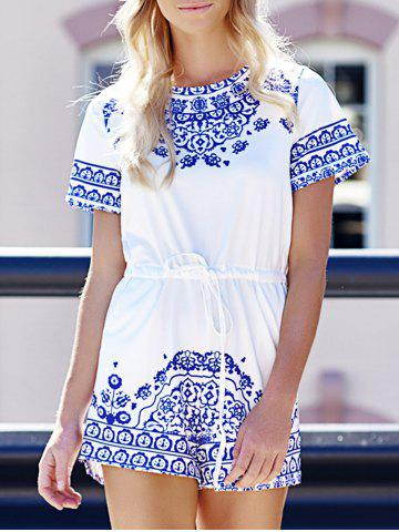 Outfits Fashion Round Neck Short Sleeve Great Wall Print Women's Blue and White Porcelain Playsuit