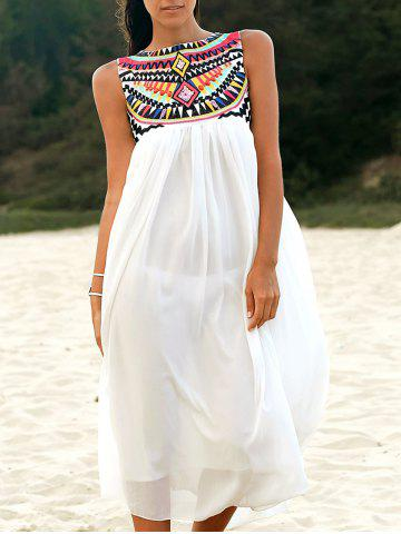 Shops Ethnic Style Round Neck Sleeveless Embroidery Dress For Women