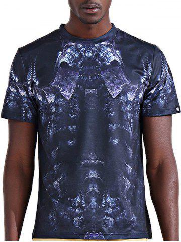 Round Neck Stylish 3D Skeleton Print Short Sleeve T-Shirt For Men - COLORMIX L