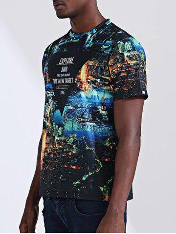 New Casual City Printed Round Collar Short Sleeves T-Shirt For Men - M COLORMIX Mobile