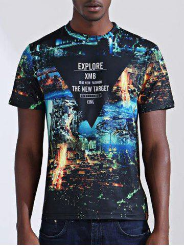 New Casual City Printed Round Collar Short Sleeves T-Shirt For Men - S COLORMIX Mobile