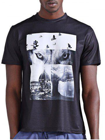 Discount Round Neck Stylish 3D Abstract Splicing Print Short Sleeve T-Shirt For Men - S COLORMIX Mobile