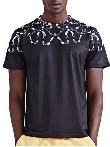 Cheap Round Neck Stylish 3D Snake Print Short Sleeve T-Shirt For Men - M COLORMIX Mobile