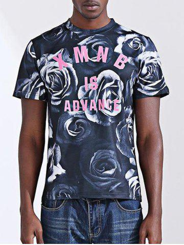 Chic Casual Letter Printed Round Collar Short Sleeves T-Shirt For Men
