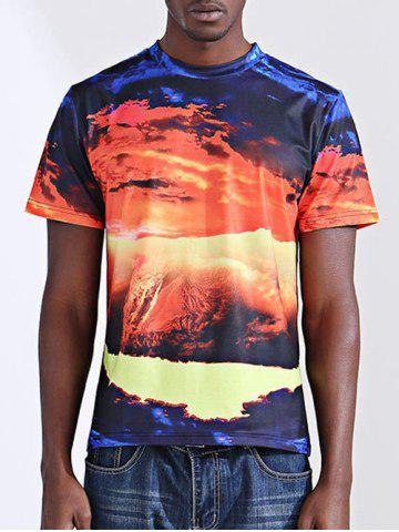 Unique Casual Printing Round Collar Short Sleeves T-Shirt For Men COLORMIX 2XL