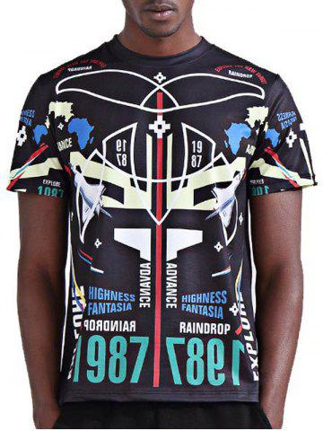 Buy Round Neck Stylish 3D Symmetrical Geometric and Number Print Short Sleeve T-Shirt For Men - XL COLORMIX Mobile
