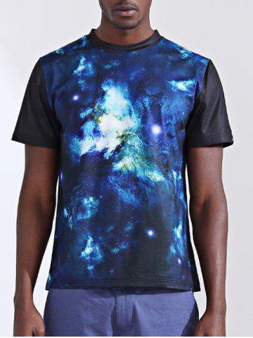 New Fashion Printing Round Collar Short Sleeves T-Shirt For Men BLUE XL