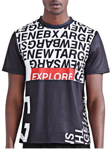 Round Neck Stylish 3D Color Block Letters Print Short Sleeve T-Shirt For Men - Colormix - 2xl
