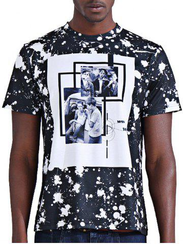 Sale Round Neck Stylish 3D Photos Print Splash-Ink Short Sleeve T-Shirt For Men COLORMIX 2XL