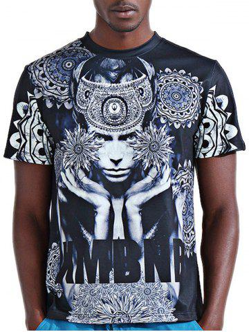 Trendy Round Neck Stylish 3D Abstract Figure and Letter Print Short Sleeve T-Shirt For Men COLORMIX 2XL