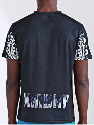 Latest Round Neck Stylish 3D Abstract Figure and Letter Print Short Sleeve T-Shirt For Men - L COLORMIX Mobile